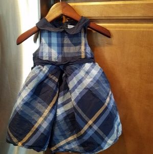 Janie and Jack Blue Silk Plaid 0-3 month dress